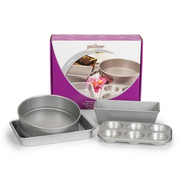 Backformen-Set Silver-Top 4-teilig mit 6er Muffinform, Springform, Kastenform und Kuchenblech