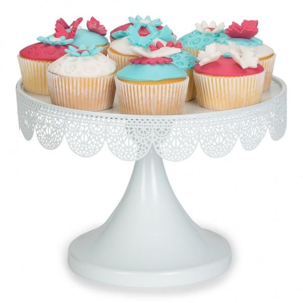 Cupcake-Etagere weiß mit Spitzenoptik am Rand Ø 25 cm