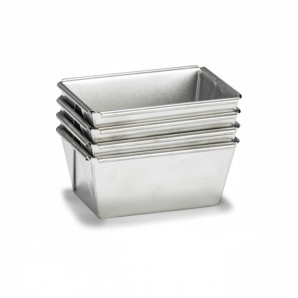 Set-Mini Brotförmchen Basic Weißblech 9cm 4-teilig