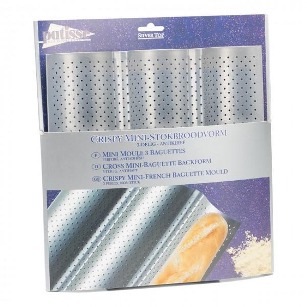 Mini-Baguette Backblech für 3 Baguettes Sliver-Top 26 x 24 cm