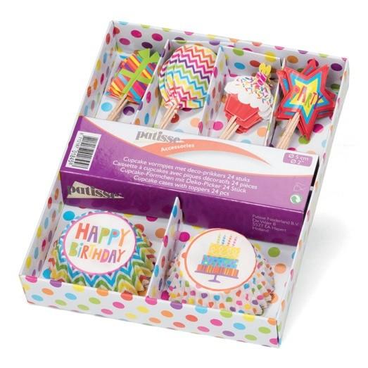 Papierbackförmchen mit Party-Pieksern | Geburtstag