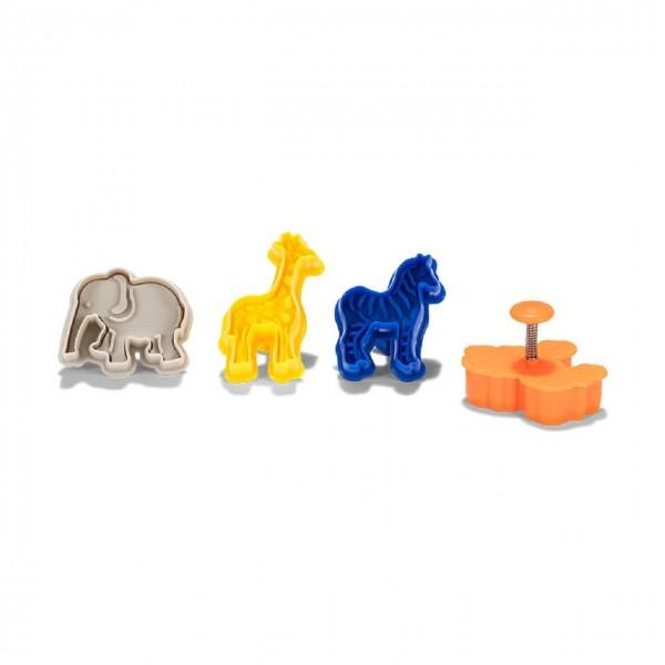 Ausstechformen mit Auswerfer Set Zootiere 4-teilig Kunststoff