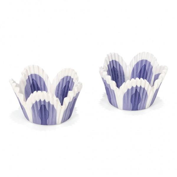 Cupcake-Papierförmchen Blumen blau weiß 48 Stück