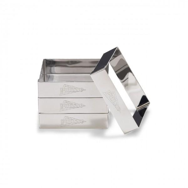 4er Set quadratische Tortenringe aus Edelstahl mit Rand 8 x 2cm