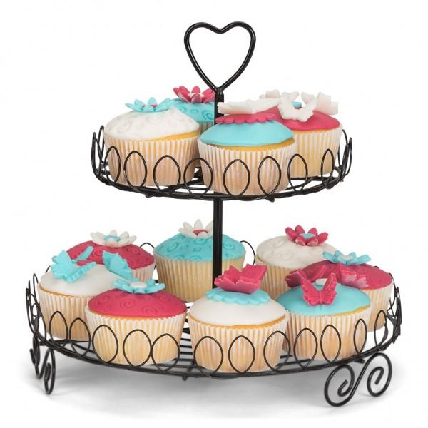 Cupcake-Etagere / Ständer mit 2 Ebenen schwarz Ø 25 cm