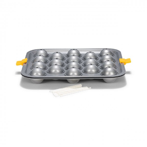 Cake-Pop Backform für 18 Stück inkl. Stiele | Silver-Top