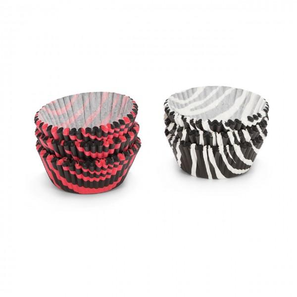 Papierbackförmchen | Zebrastreifen rot/weiß