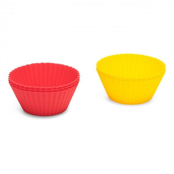 Silikon-Muffinförmchen 6 Stück in rot und gelb