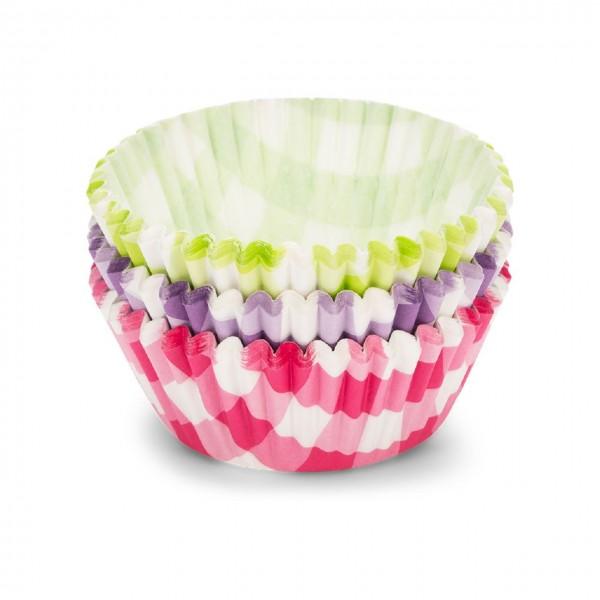 Papierbackförmchen | kariert violett/grün/pink