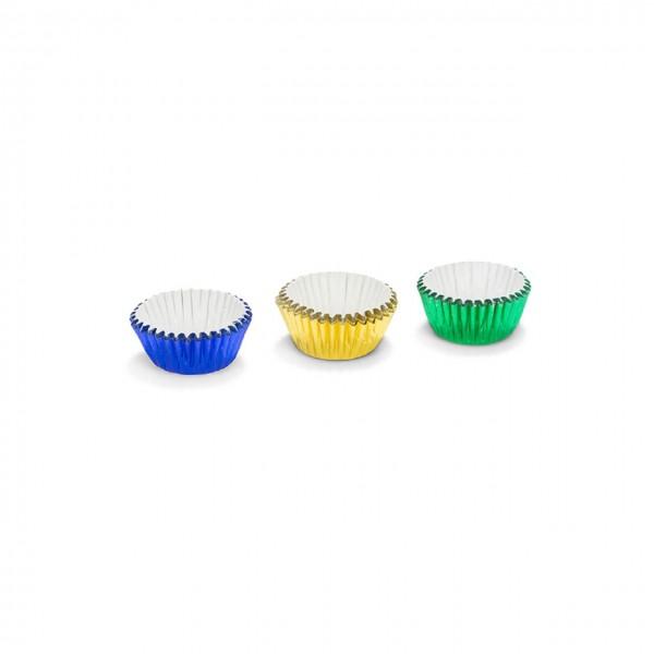 Pralinenförmchen Aluminium | Uni blau/grün/gelb