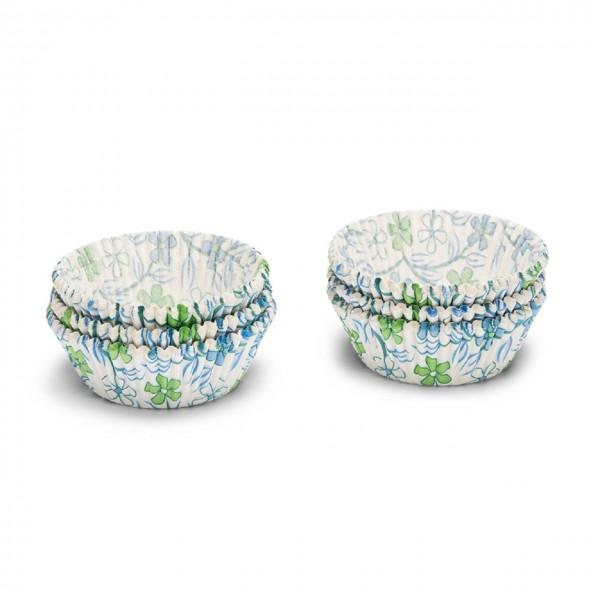 Papierbackförmchen | Blumen blau/grün